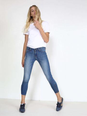 ג'ינס סקיני עם רוכסנים בצדדים SCARLETT CROPPED BLUE MONDAY