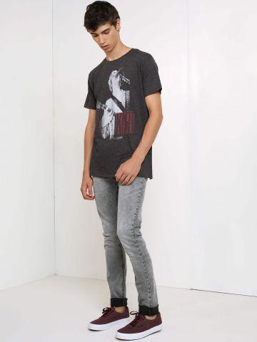 מכנסי סקיני ג'ינס אסיד-ווש Malone Silver Cloud