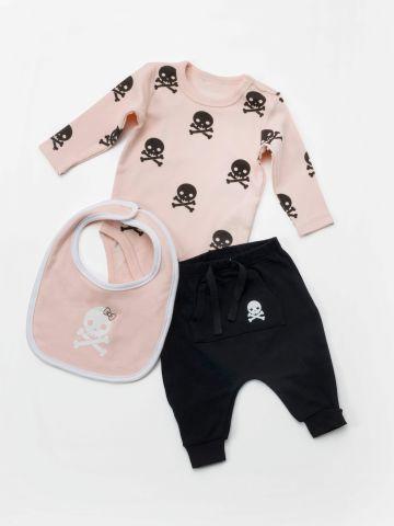 סט בגד גוף גולגולות ומכנסיים עם סינר תואם