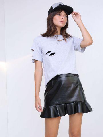 חצאית מיני עם פפלום