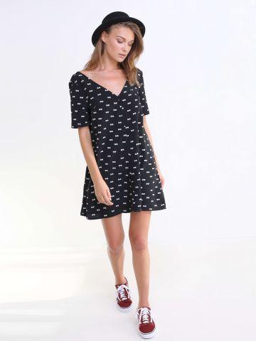 שמלת כפתורים מודפסת