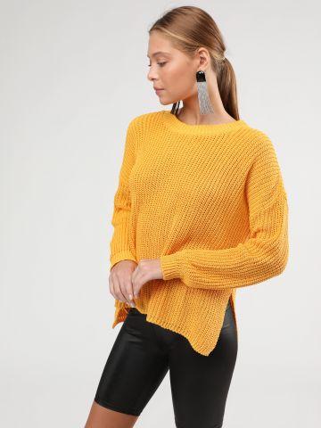 סוודר צמות אוברסייז עם שסעים