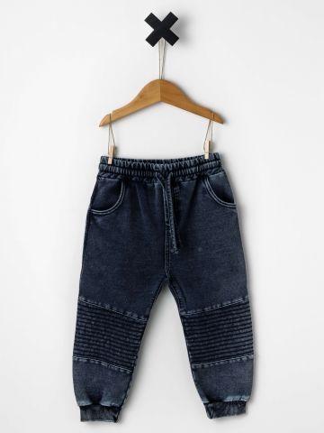 מכנסי פוטר דמוי ג'ינס משופשף