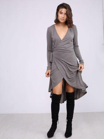 שמלת מעטפת עם שרוולים ארוכים