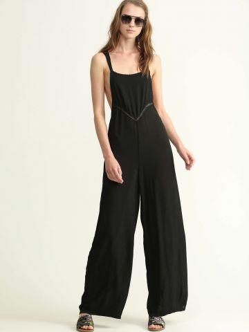 אוברול מכנסיים רחבים עם כתפיות קרושה