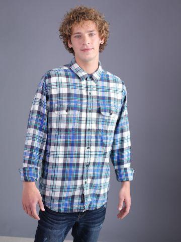 חולצת פלאנל משובצת מכופתרת
