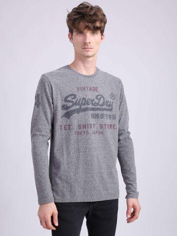 חולצת טי שירט הדפס עם שרוולים ארוכים