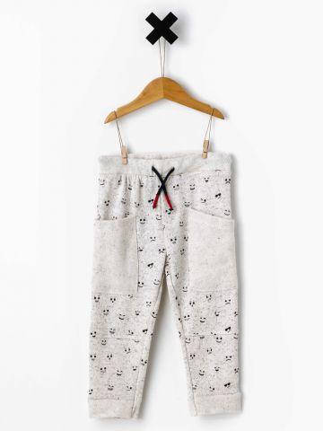 מכנסי פוטר עם הדפס סמיילי