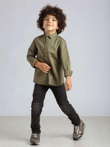 מכנסי ג'ינס דמוי טלאים