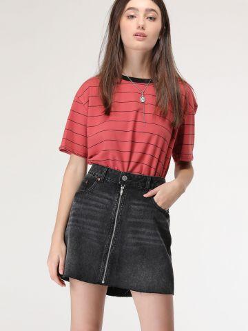 חצאית ג'ינס אסיד-ווש עם רוכסן