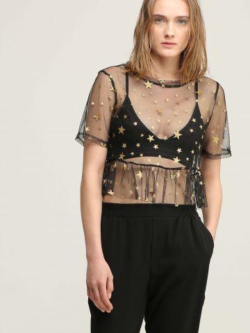 חולצת רשת פפלום עם כוכבים