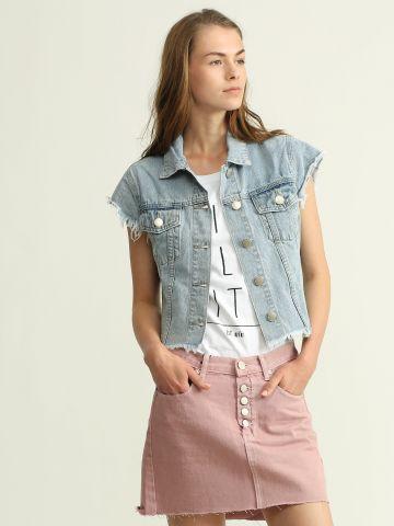ג'קט ג'ינס שרוולים קצרים