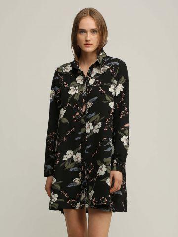 שמלה מכופתרת בהדפס פרחים