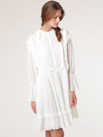 שמלת מיני מלמלות עם שרוולי פעמון