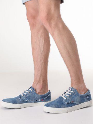 סניקרס ג'ינס משבצות עם תפרים פרומים