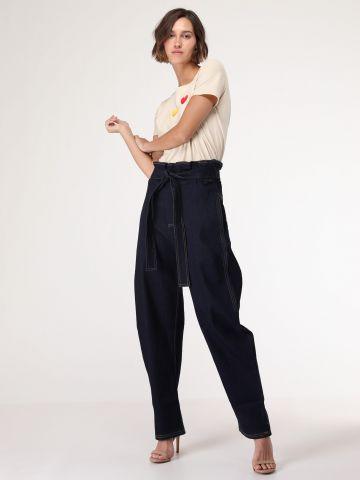 ג'ינס פייפרבאג אוברסייז עם חגורה