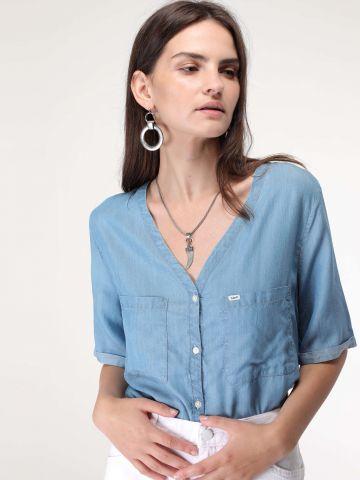 חולצת ג'ינס מכופרת ללא צווארון