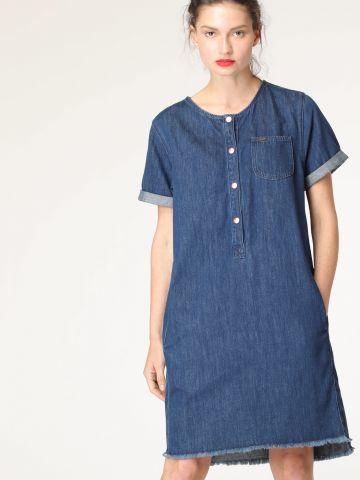 שמלת ג'ינס מידי עם סיומת פרומה