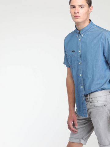 חולצת ג'ינס מכופתרת בהדפס נקודות