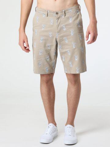 מכנסי צ'ינו קצרים בהדפס ידיים