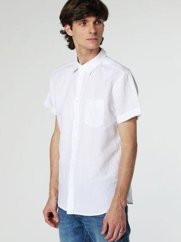 חולצה מכופתרת פשתן עם שרוולים קצרים