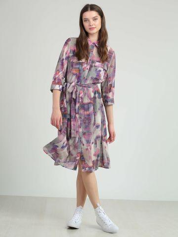 שמלת הדפס מכופתרת