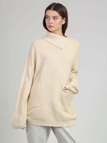 סוודר אוברסייז עם כיסים