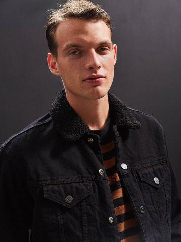 ג'קט ג'ינס עם בטנה פרוותית BDG