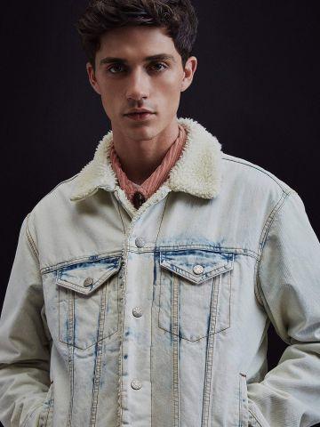 ז'קט ג'ינס עם בטנה פרוותית BDG