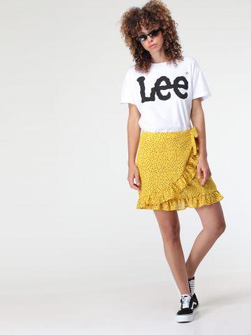 חצאית מיני מעטפת בהדפס נקודות