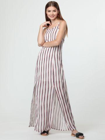 שמלת מקסי בהדפס פסים עם גב פתוח