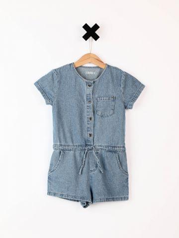 אוברול ג'ינס עם כיס בחזית / בייבי בנות - בנות