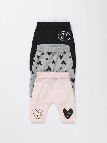 מארז 3 מכנסיים ארוכים עם הדפסי לבבות / בייבי בנות