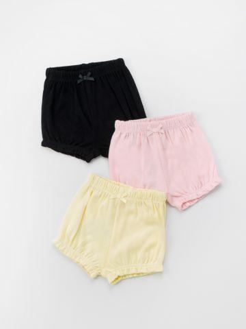 מארז 3 מכנסיים קצרים עם פפיון