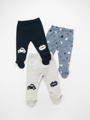 מארז 3 מכנסי איורים עם רגליות / בייבי בנים