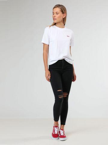 ג'ינס סקיני בגזרה גבוהה עם קרעים בברכיים 720