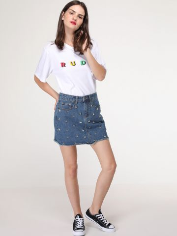 חצאית ג'ינס בעיטור ניטים כוכבים