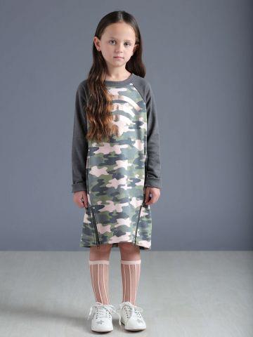 שמלת סווטשירט בהדפס צבאי