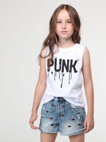 גופייה Punk עם שרוכי קשירה מאחור