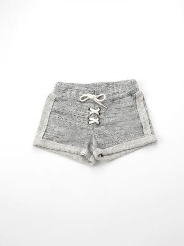 מכנסי פרנץ' טרי קצרים עם שרוך קשירה / בנות