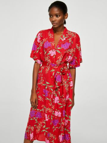 שמלת קימונו מכופתרת בהדפס פרחים