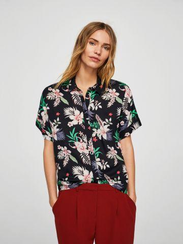 חולצה מכופתרת בהדפס טרופי