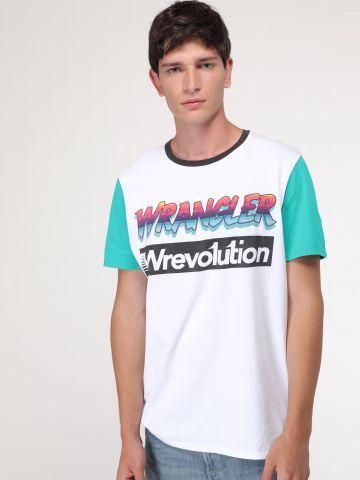 טי שירט לוגו עם שרוולים צבעוניים Wrevolution