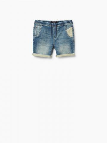 ג'ינס קצר ברמודה בשילוב בד