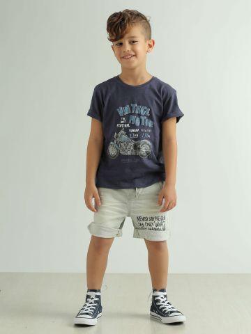 ג'ינס קצר ברמודה עם כיתוב