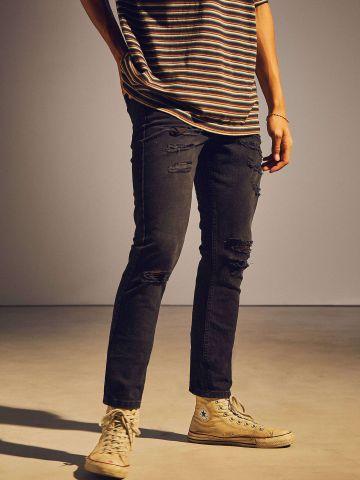 מכנסי סקיני ג'ינס עם קרעים BDG