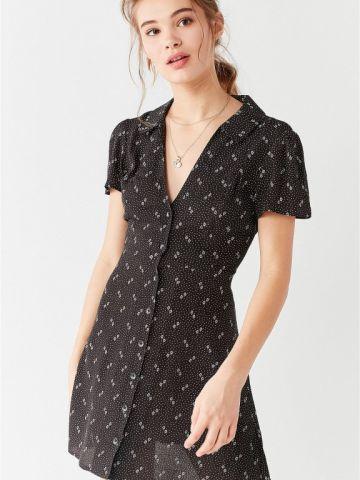שמלה מכופתרת בהדפס פרחוני UO