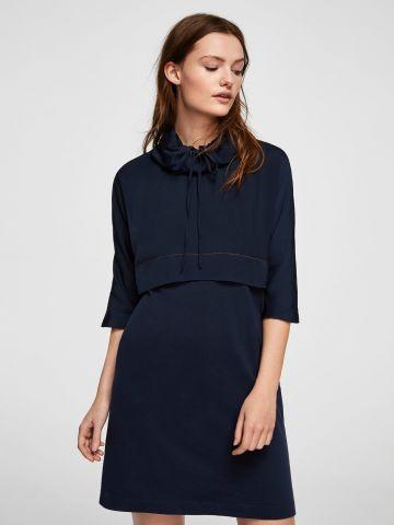 שמלת שני חלקים צווארון נפוח