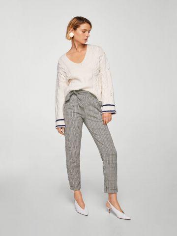 מכנסיים בהדפס משבצות עם קשירה צדדית