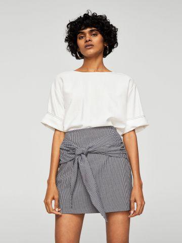 חצאית מיני משבצות עם אלמנט קשירה